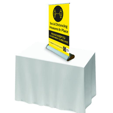 keep distance - Social distancing measures in place. Table Roll Up Banner - Virus Safety
