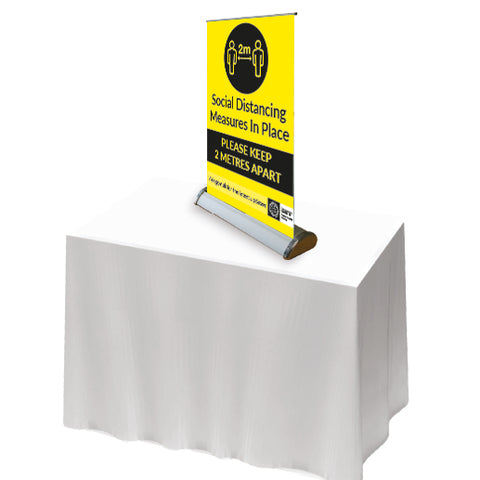 2m keep distance - Social distancing measures in place. Table Roll Up Banner - Virus Safety