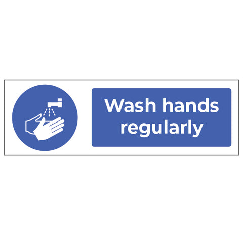 20 Pack of 20cm x 60cm Wash Hands self adhesive graphics - Virus Safety