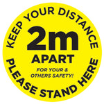 2m Apart - Keep your distance - Please Stand Here - Yellow - Virus Safety