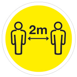 20 Pack of 2m Apart - Keep your distance Yellow for Doors & Windows - Virus Safety