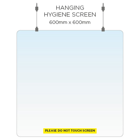 Hanging Hygiene Screen - 60cm x 60cm - Virus Safety
