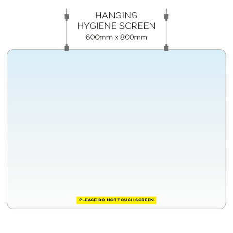Hanging Hygiene Screen - 80cm x 60cm - Virus Safety