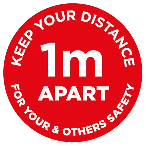1m Apart - Keep your distance - Red - Virus Safety
