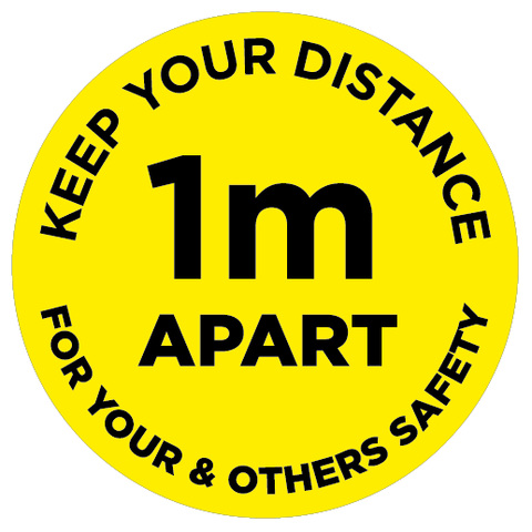 1m Apart - Keep your distance - yellow - Virus Safety
