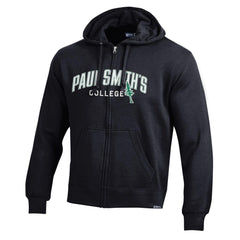 Sweatshirt, full zip hooded, dark green or black. Embroidery on front.