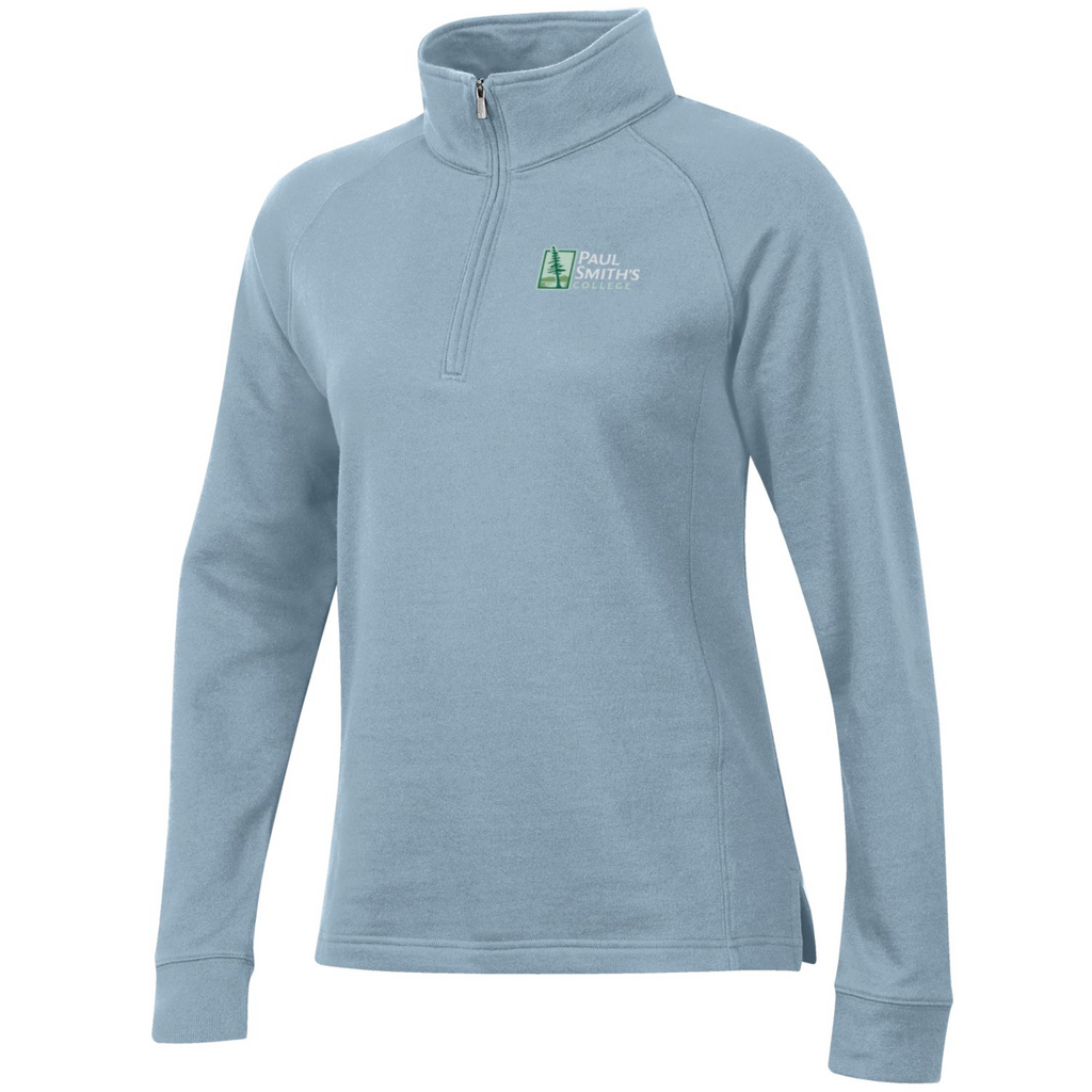 Ladies quarter zip sweatshirt, oatmeal heather or sea blue
