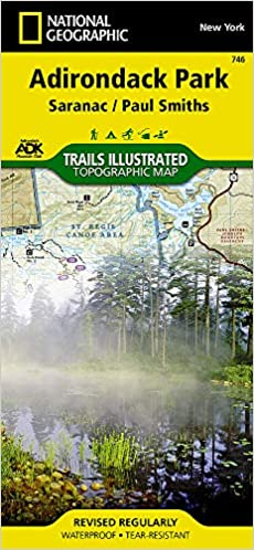 Map, National Geographic --Adirondack Park, Saranac/Paul Smiths