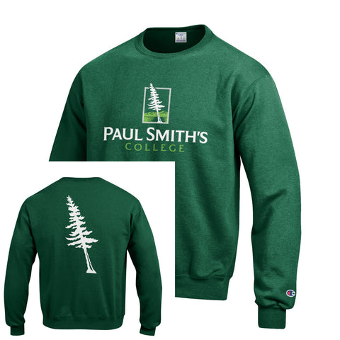 Crewneck Sweatshirt, tree on back, dark green