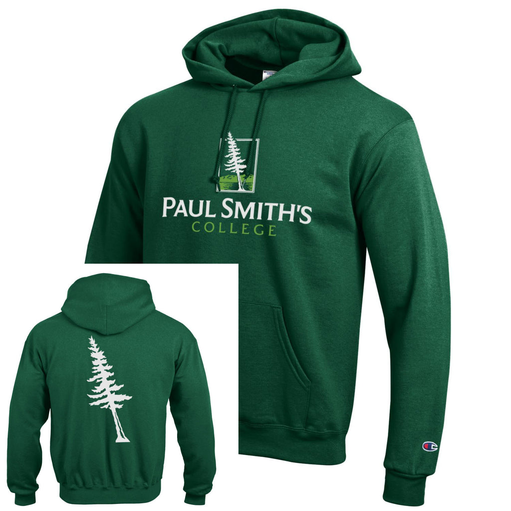 Hooded Sweatshirt, tree on back, dark green