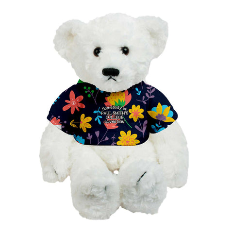 Teddy Bear, 14 inches, White with Flower Shirt, Somebody at Paul Smith's College Loves Me !