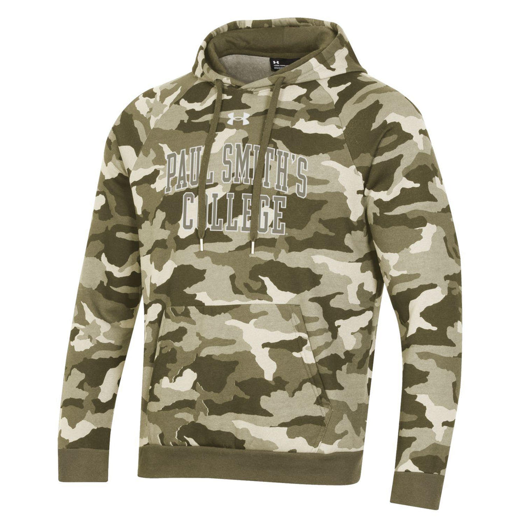 Under Armour Hoodie, CAMO design. 75% cotton, 25% poly. Olive Green