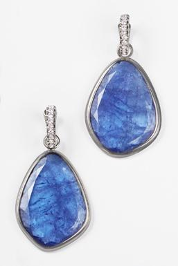 Tanzanite & Diamond Sliced Earrings