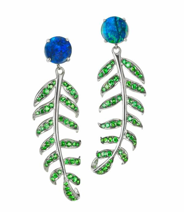 Blue Opal & Tsavorite Fern Earrings