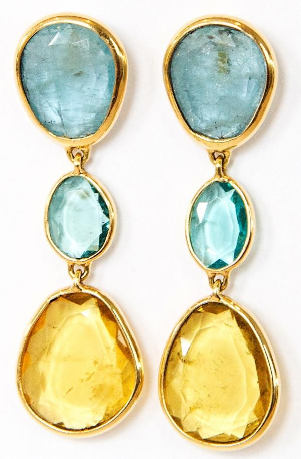 Small Yellow and Blue Beryl Sliced Earrings