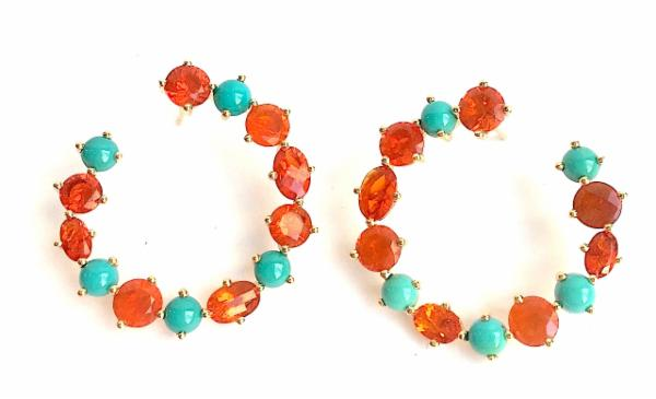 Fire Opal & Turquoise Crescent Earrings