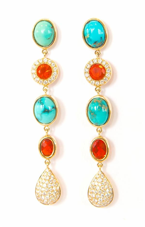 Fire Opal, Turquoise & Diamond Earrings
