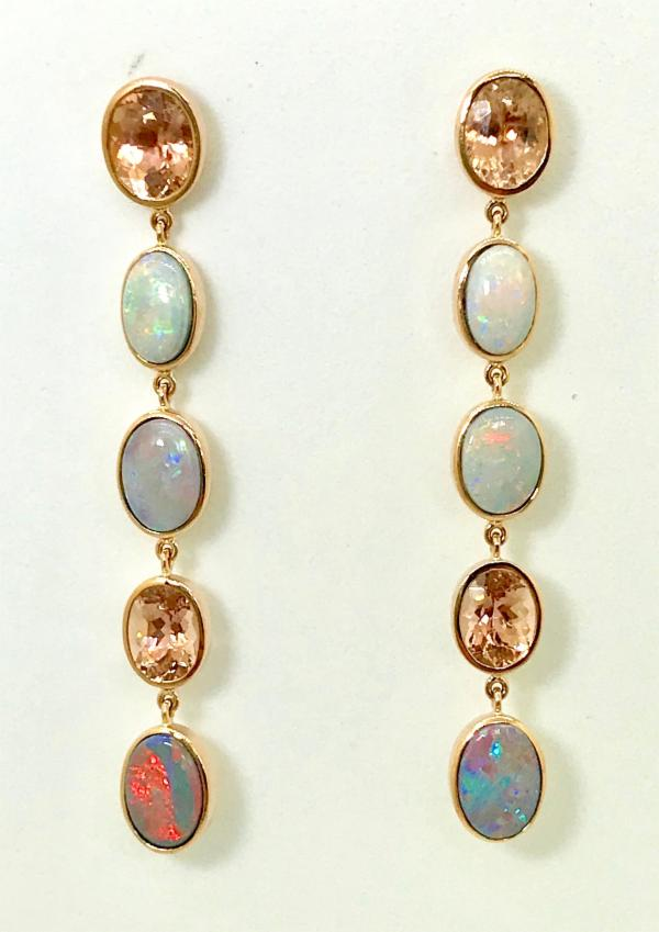 Tourmaline and Opal Earrings