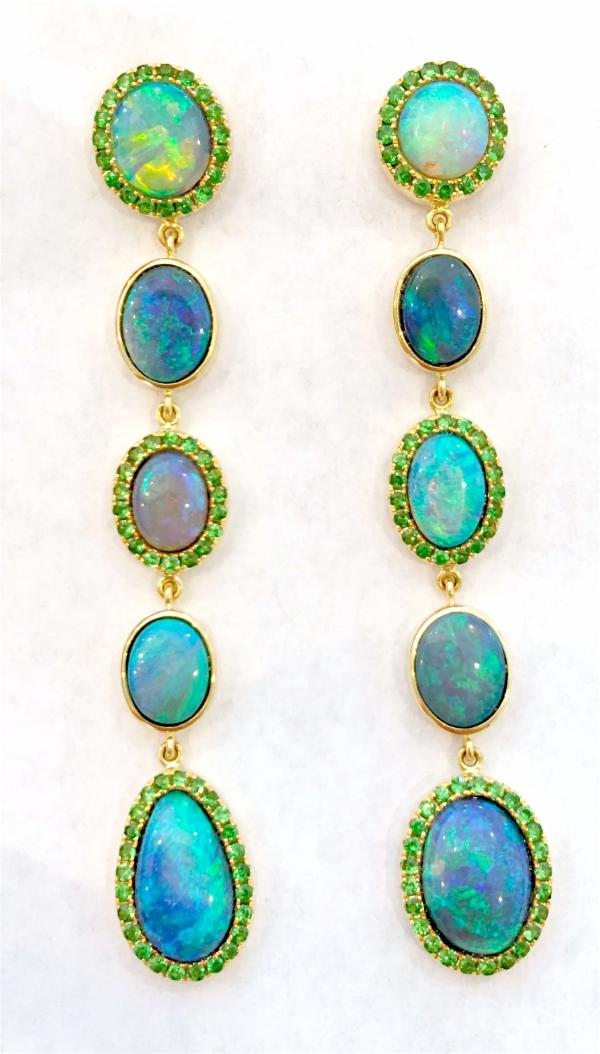 Opal & Tsavorite Line Earrings