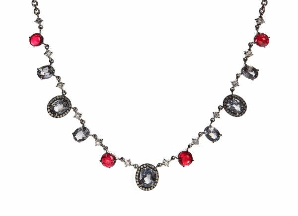 Grey and Red Spinel Grey Lady Necklace