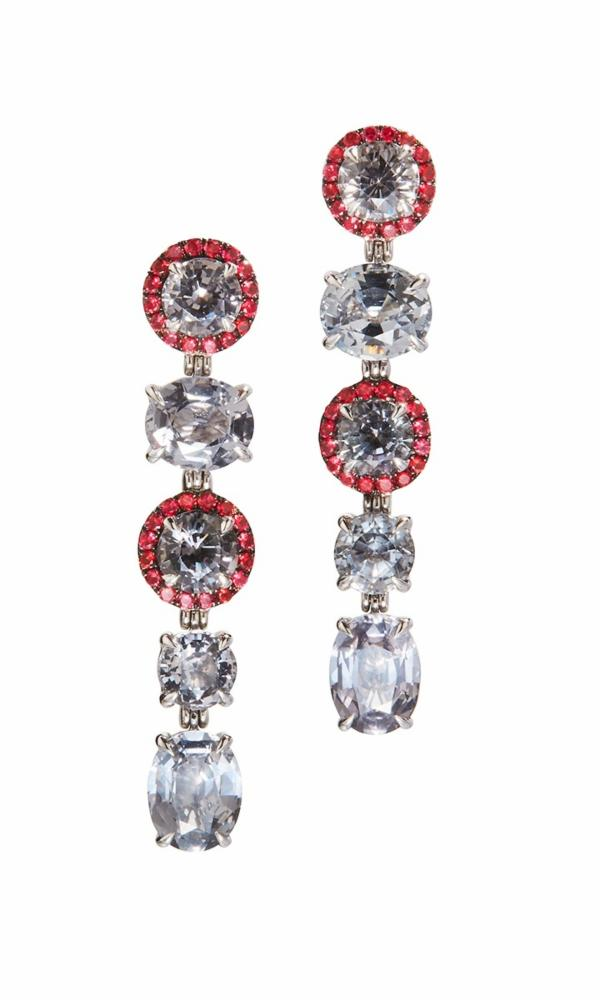 Grey & Red Spinel Grey Lady Earrings