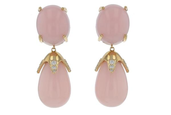 Pink Peruvian Opal and Diamond Earrings