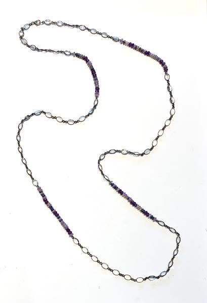 Amethyst Bead and Moonstone Layering Chain
