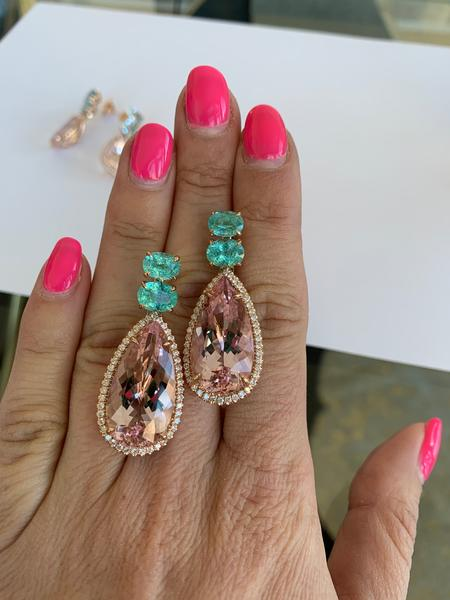 Morganite and Paraiba Tourmaline Pastel Sunset Earrings