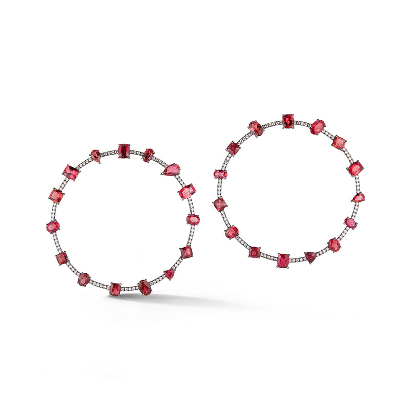 Pink Tourmaline and Diamond Orbit Earrings