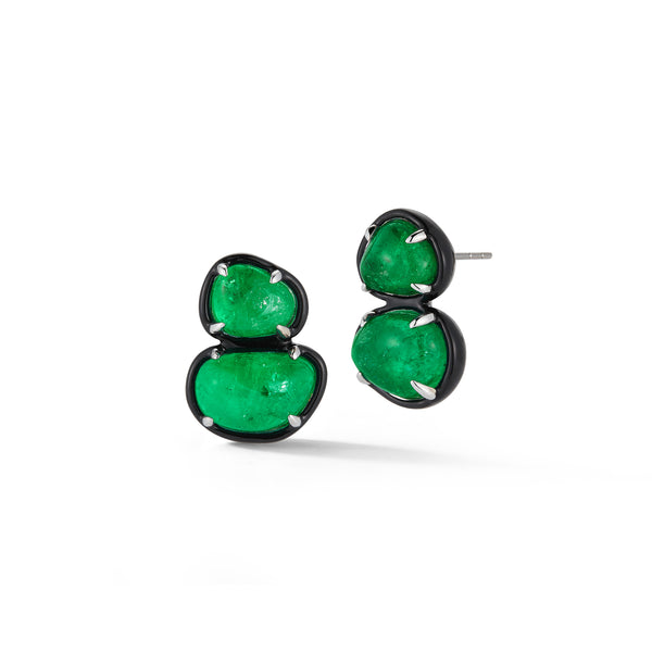 Muzo X Katherine Jetter Collaboration Emerald Two Tier Studs with Enamel