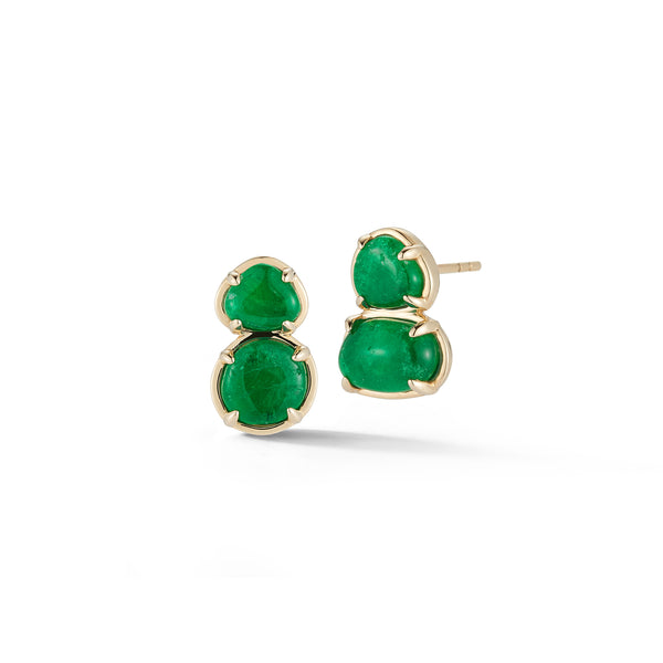 Muzo X Katherine Jetter Collaboration Emerald Two Tier Studs in Gold