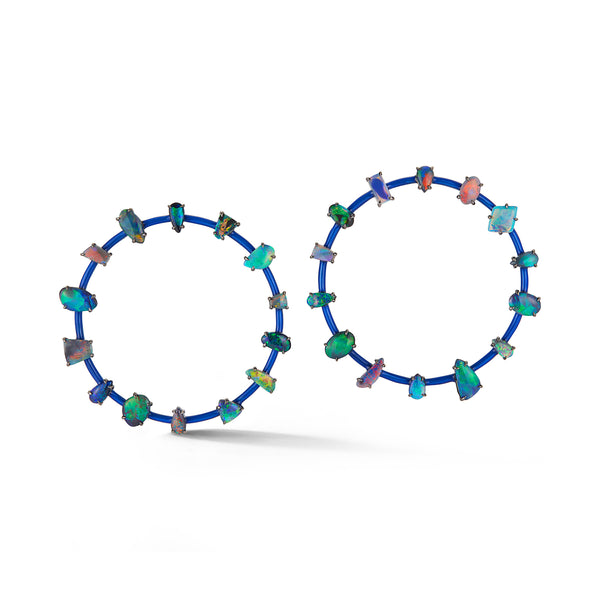 Black Opal and Dark Blue Enamel Orbit Earrings