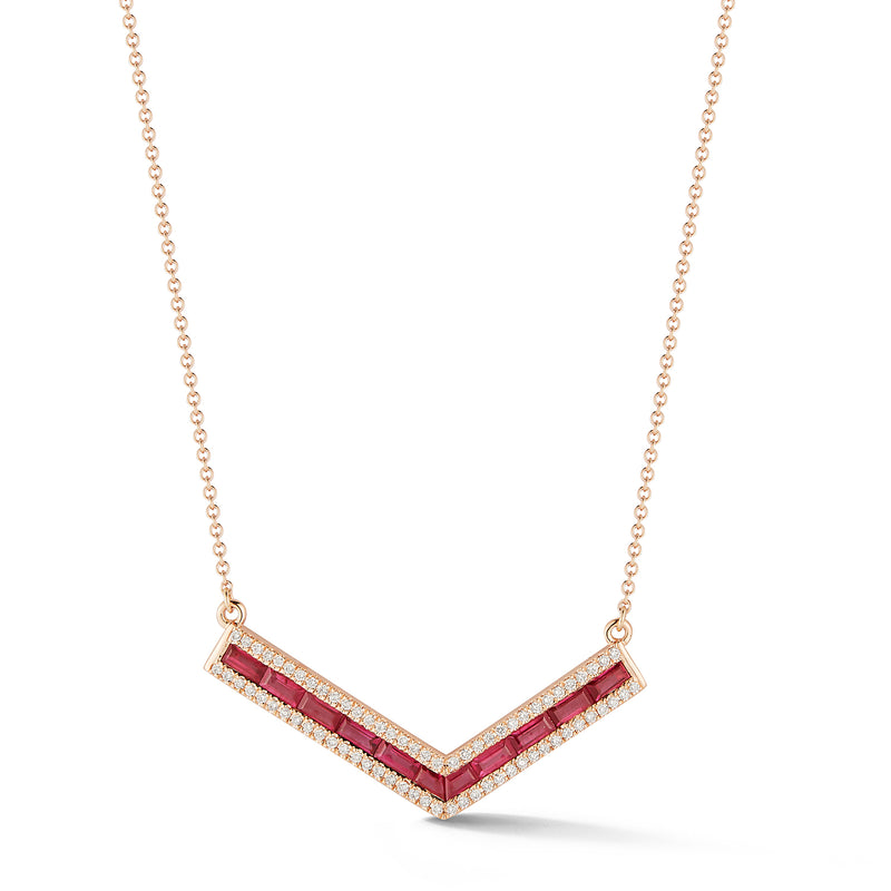 "Ruby and Diamond Origami ""V"" Necklace"