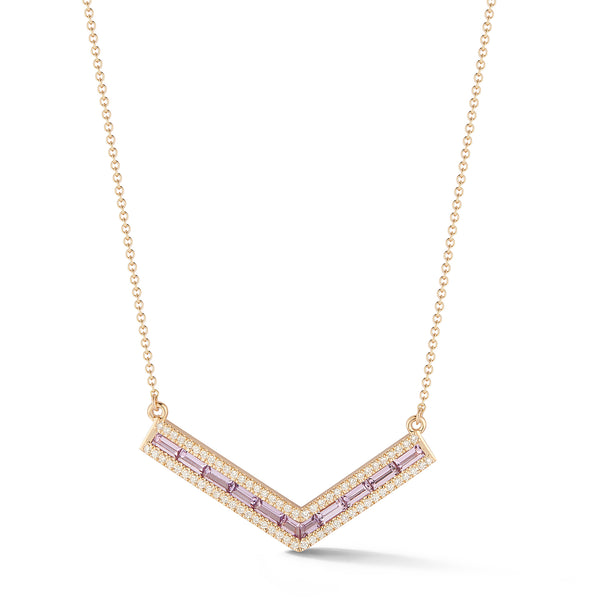 "Purple Sapphire and Diamond Origami ""V"" Necklace"