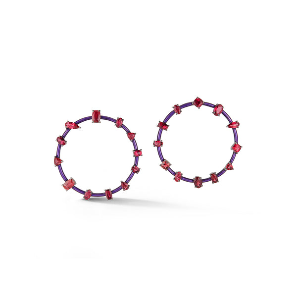 Pink Tourmaline and Purple Enamel Orbit Earrings