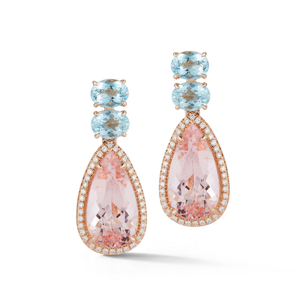 Morganite & Aquamarine Pastel Sunset Earring
