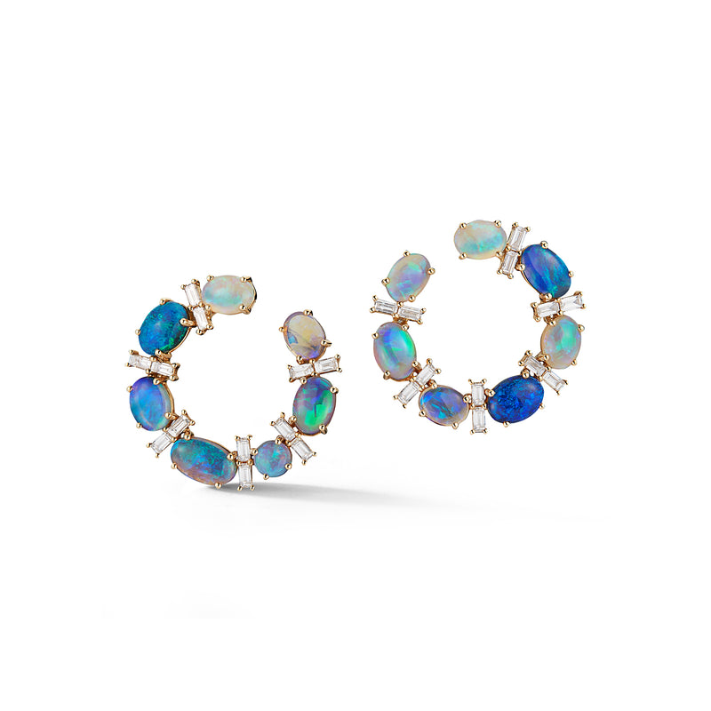 Black Opal & Diamond Crescent Earrings