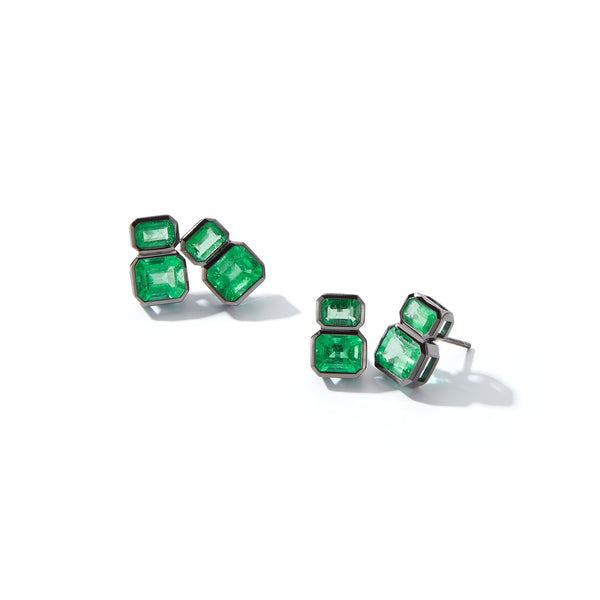 Muzo X Katherine Jetter Collaboration Emerald Double Stud Earrings