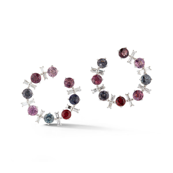 Purple Spinel and Diamond Baguette Crescent Earrings