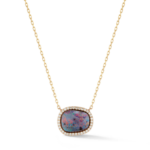 Large Boulder Opal and Diamond Necklace