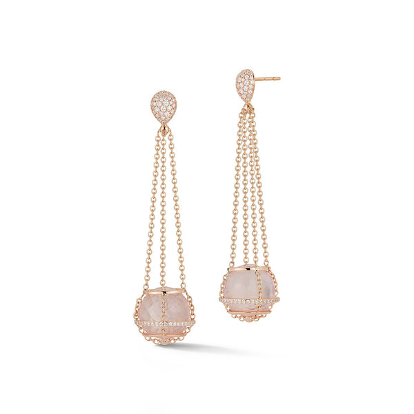 Rose Quartz Cage Chain Basket Earrings in Rose Gold