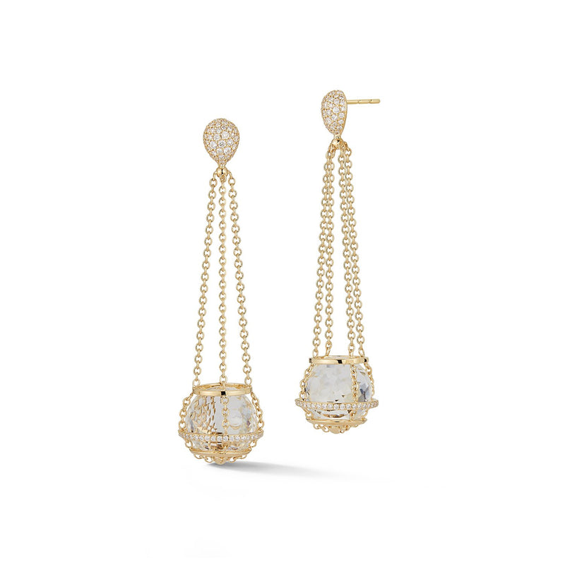 Rock Crystal Cage Chain Basket Earrings in Yellow Gold