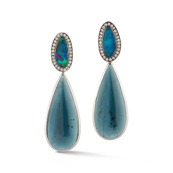 Blue Tourmaline and Boulder Opal Earrings