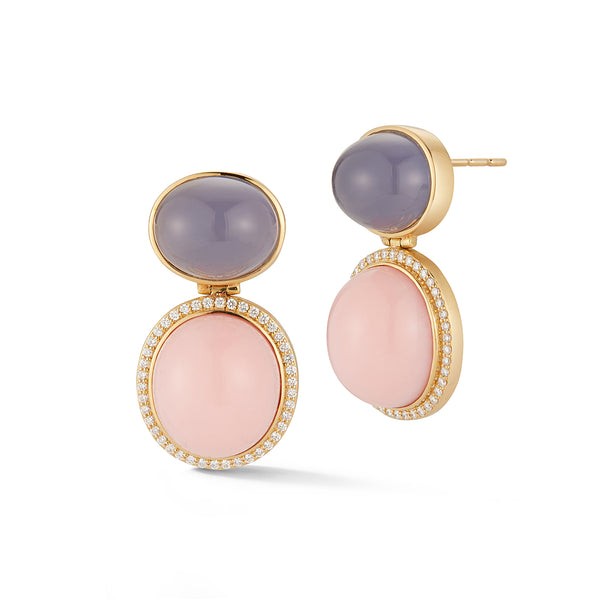 Pink Peruvian Opal and Blue Chalcedony Earrings