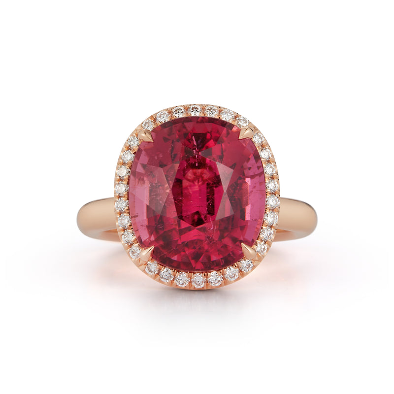 Rubellite and Diamond Cocktail Ring