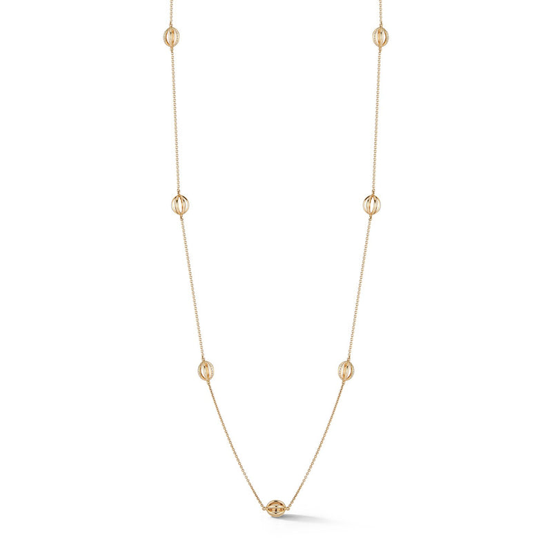 Diamond Cage Station Necklace in Yellow Gold
