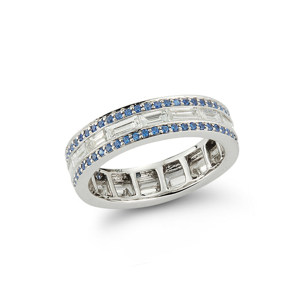 Diamond and Sapphire Origami Band Ring