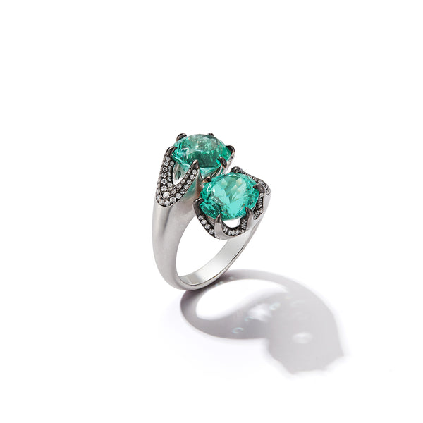 "The ""Eva"" Emerald Bypass Cocktail Ring"