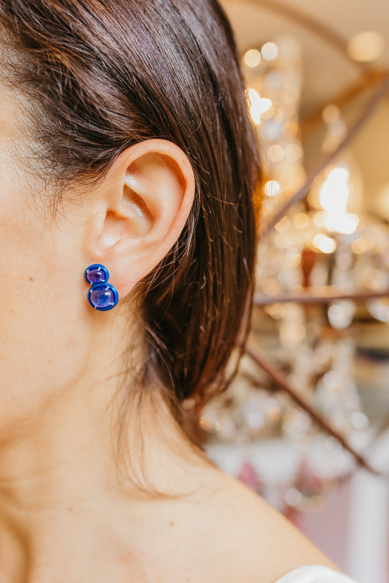 Tumbled Tanzanite Two Tiered Stud Earrings