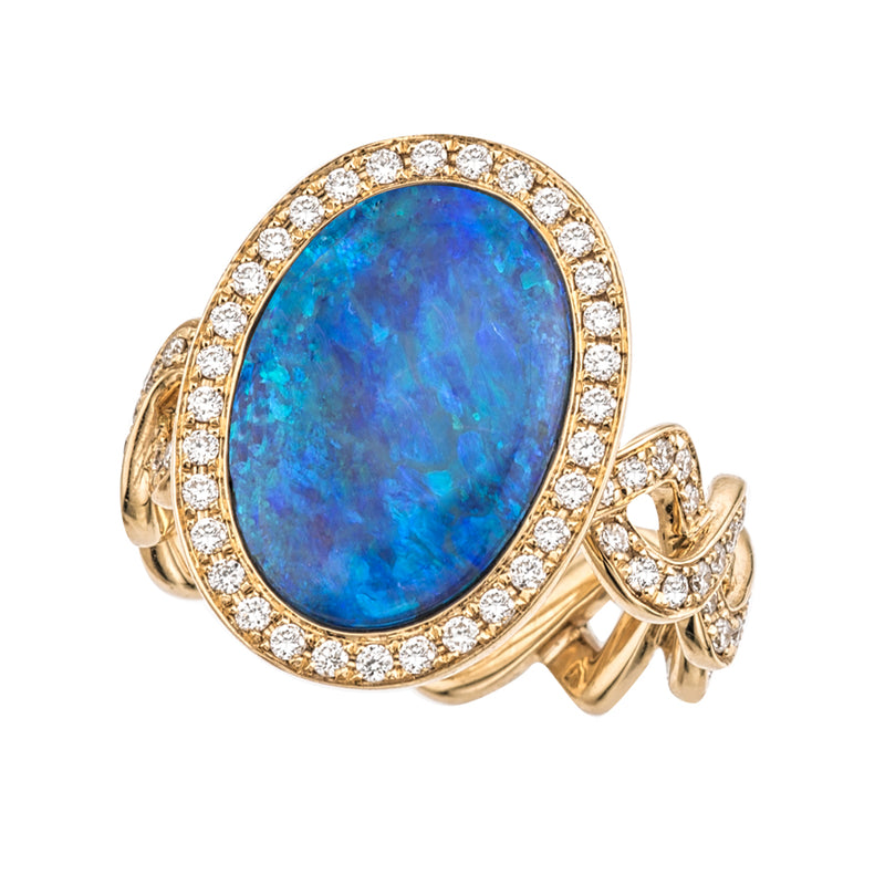 Black Opal with Twisting Vine Ring